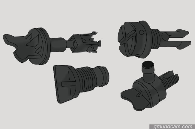 Different style of radiator drain plugs