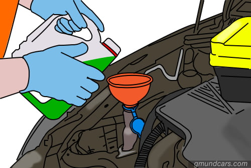 Add new coolant to car radiator