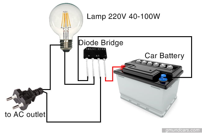 A DIY battery charger system featuring a diode bridge