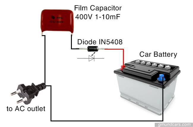 A DIY battery charger system with a film capacitor